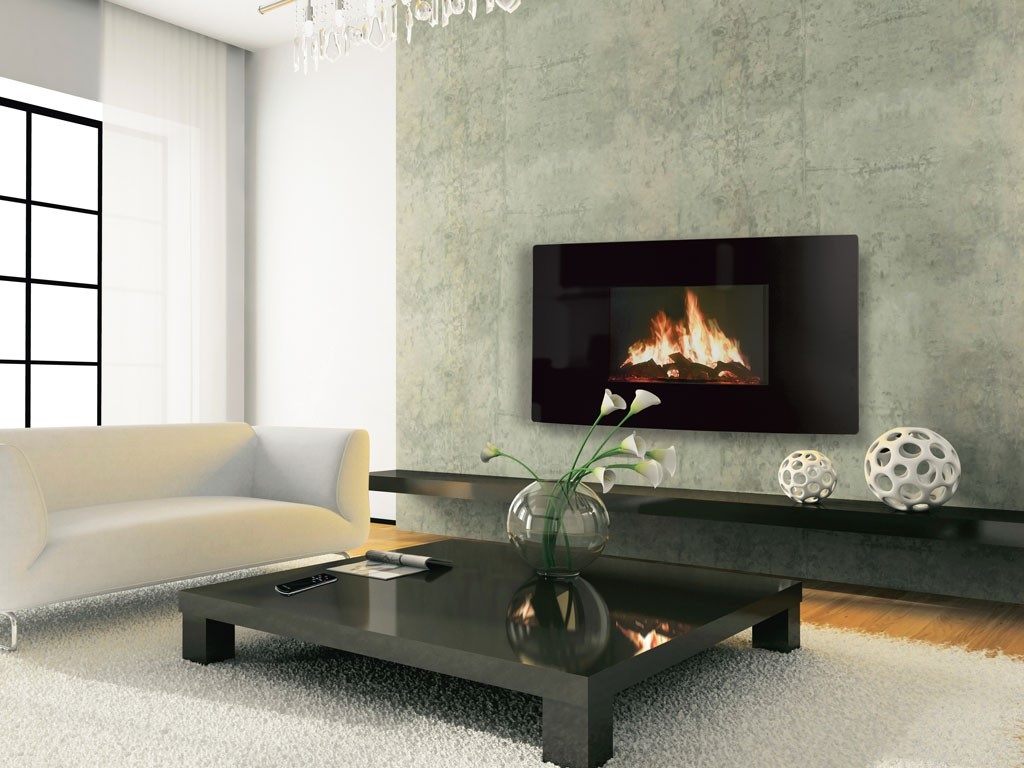 Curved Electric Wall Hung Fireplace